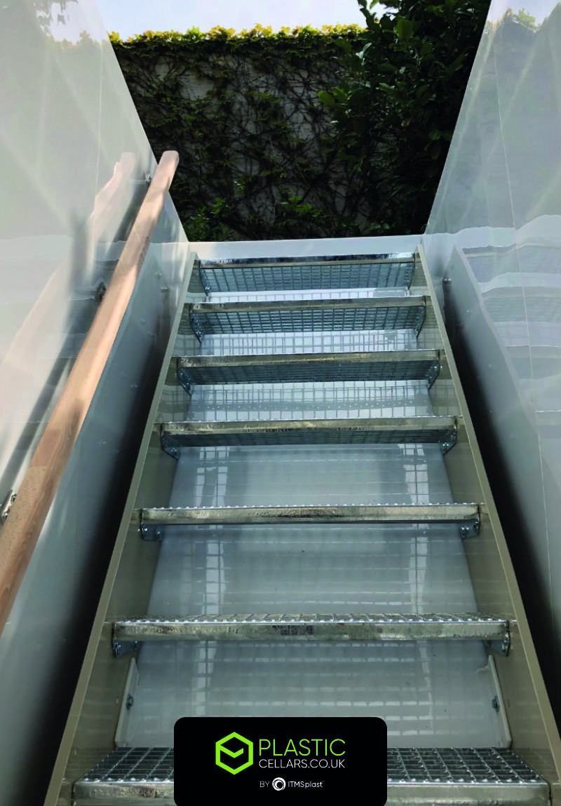 Stairs in a plastic cellar